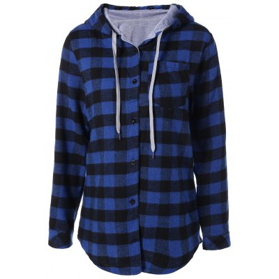 Casual Long Sleeve Hooded Plaid Check Shirt