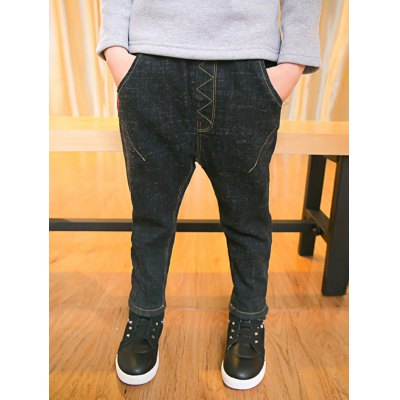 Casual Boys Elastic Waist Thicken Jeans