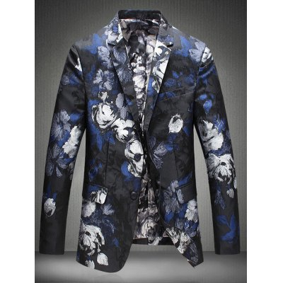 Notch Lapel Single Breasted Floral Jacquard Blazer