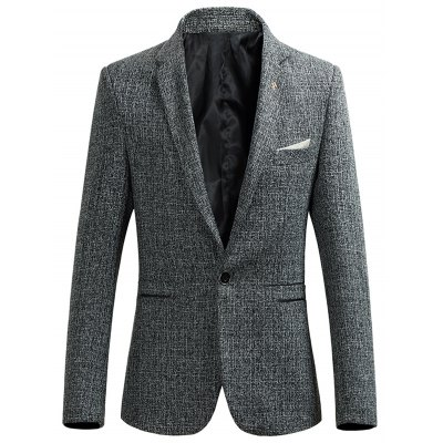 Lapel Collar Single Breasted Heather Blazer