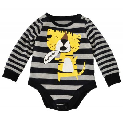 Baby Newborn Toddler Tiger Striped Long Sleeve Bodysuit Jumpsuit