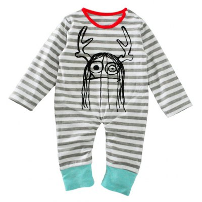 Baby Newborn Toddler Print Striped Long Sleeve Jumpsuit Bodysuit