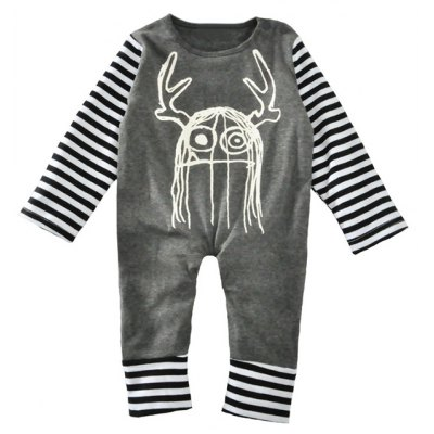 Baby Horn Printed Striped Long Sleeve Jumpsuit