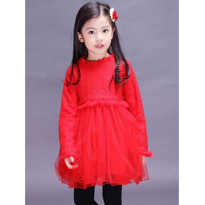 Kids Long Sleeve Lace Mini Ball Gown Dress