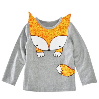 Fox Print Color Block Long Sleeve T Shirt