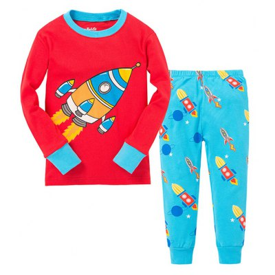 Rocket Print Long Sleeves Pants Pajamas Sets