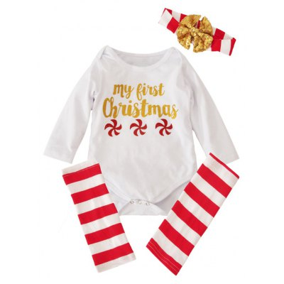 Baby 1st Christmas Long Sleeve Romper + Striped Stockings + Headband