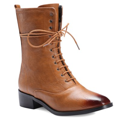 PU Leather Combat Boots
