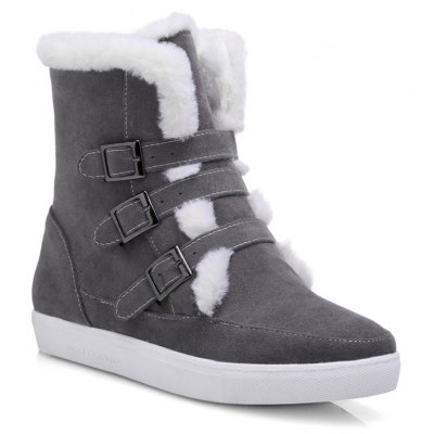 Casual Suede Buckle Straps Short Boots