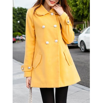 Double Breasted Bowknot Pea Coat