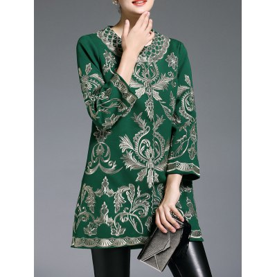 Embroidered Three Quarter Sleeve Coat