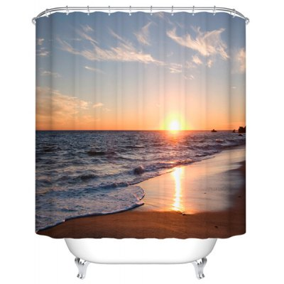 Sea Setting Sun Printed Shower Curtain