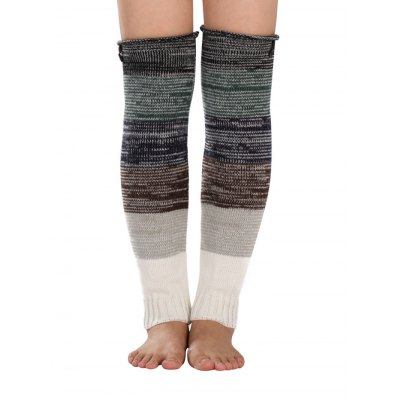 Color Block Striped Knit Leg Warmers