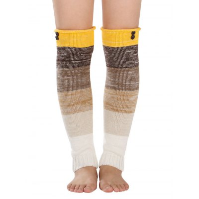 Warm Buttons Color Block Striped Knit Leg Warmers