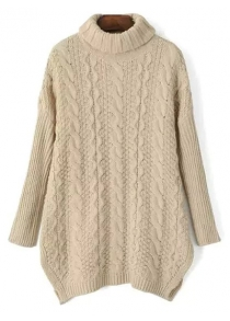 Turtle Neck Side Split Cable Knit Sweater