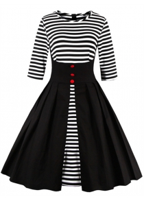 Midi Striped Formal Skater Cocktail Dress