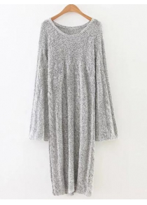 Marled Cable Knit Side Slit Long Sweater