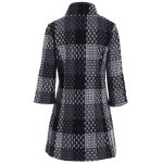 cheap Three Quarter Sleeve Plaid Coat