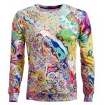 Long Sleeve Round Neck Abstract Printed Sweatshirt
