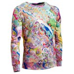 Long Sleeve Round Neck Abstract Printed Sweatshirt deal