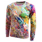cheap Long Sleeve Round Neck Abstract Printed Sweatshirt