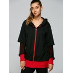 cheap Hooded Letter Print Zip Up Baseball Coat