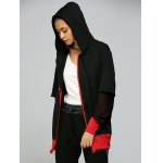 Hooded Letter Print Zip Up Baseball Coat for sale