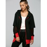 Hooded Letter Print Zip Up Baseball Coat deal