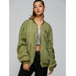 cheap Stand Neck Graphic Bomber Jacket