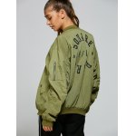 Stand Neck Graphic Bomber Jacket deal