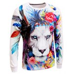 cheap Long Sleeve Crew Neck Animal 3D Printed Sweatshirt