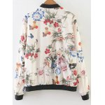 cheap Stand Neck Floral Print Bomber Jacket