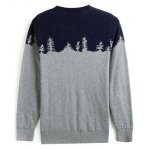 cheap Crew Neck Color Block Splicing Snow Pattern Long Sleeve Sweater