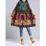 cheap Loose-Fitting Ethnic Print Coat
