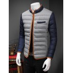 cheap Constrast Piping Stand Collar Zip Up Quilted Jacket