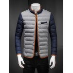 Constrast Piping Stand Collar Zip Up Quilted Jacket