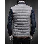 Constrast Piping Stand Collar Zip Up Quilted Jacket deal