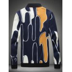 cheap Abstract Printed Stand Collar Zip Up Jacket