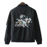 cheap Quilted Embroidered Bomber Jacket