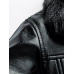 Faux Fur Collar Zipper-Up Thermal PU Jacket for sale