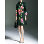 cheap Frog Button Floral Embroidered Coat