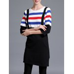 cheap Color Block Stripe Knitted Shift Dress