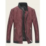 cheap Abstract Pattern Stand Collar Zip Up Jacket