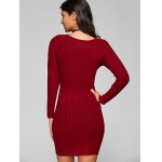 Long Sleeve Knit Ribbed Wrap Dress for sale