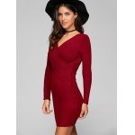Long Sleeve Knit Ribbed Wrap Dress deal