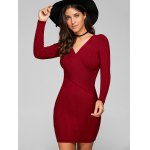 cheap Long Sleeve Knit Ribbed Bodycon Dress