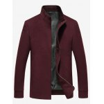 cheap Side Pocket Stand Collar Zip Up Texture Jacket