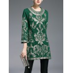cheap Embroidered Three Quarter Sleeve Coat