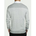 cheap Striped Round Collar Long Sleeves Sweater
