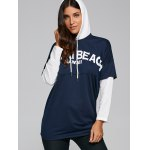Loose Fit Letters Print Patchwork Hoodie deal